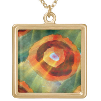 art texture abstract water green, orange, circle square pendant necklace