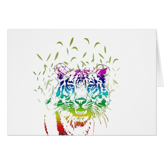 Art Tiger Rainbow Design Card