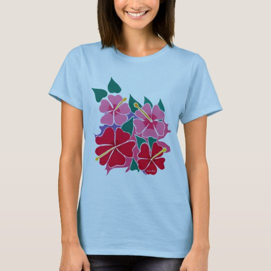Art Top: Baby Doll Hibiscus Flowers T-Shirt
