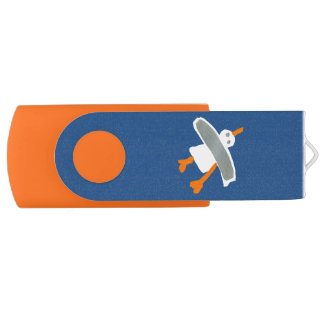 Art USB Stick: John Dyer Seagull Blue Orange Swivel USB 3.0 Flash Drive