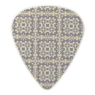 Art vintage damask pattern, golden acetal guitar pick