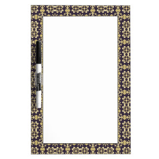Art vintage damask pattern, golden dry erase board