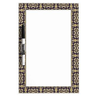 Art vintage damask pattern, golden dry erase boards