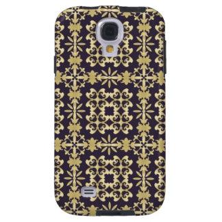 Art vintage damask pattern, golden galaxy s4 case
