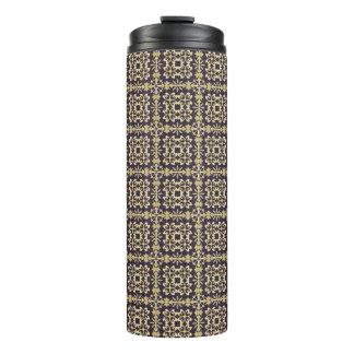 Art vintage damask pattern, golden thermal tumbler