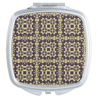 Art vintage damask pattern, golden vanity mirror