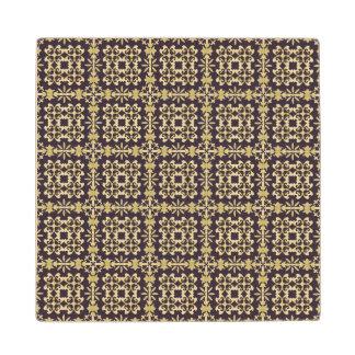 Art vintage damask pattern, golden wood coaster