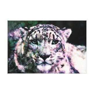 Art - Wrapped Canvas - Snow Leopard Mixed Media Canvas Prints