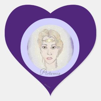 Artemis Moon Goddess Heart Sticker