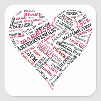 Arteriovenous Malformation Word Heart Sticker