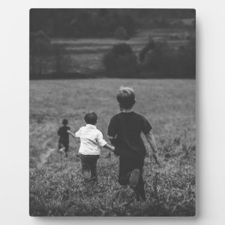 Artful Boys Brothers at Play Black & White Print Photo Plaques