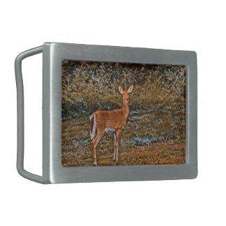 Artful Deer Rectangular Belt Buckles