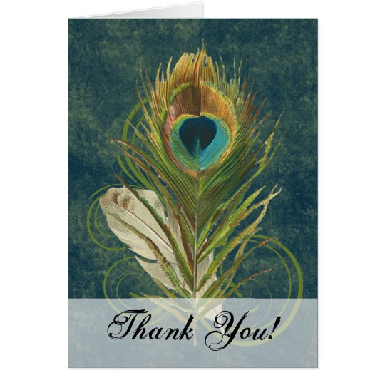 Artful Detail Peacock Feather Thank You Card