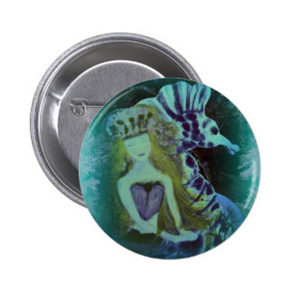 ARTful Fairy Tales Mermaid and SeaHorse 6 Cm Round Badge