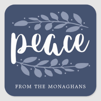 Artful Peace Personalized Holiday Stickers | Blue