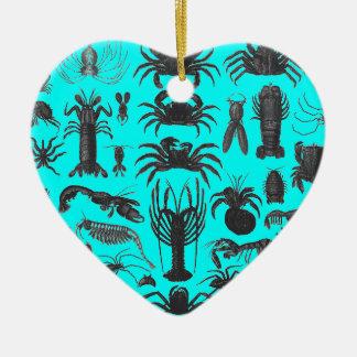 Arthropoda: spiders, crabs, lobsters B&W pattern Ceramic Heart Decoration