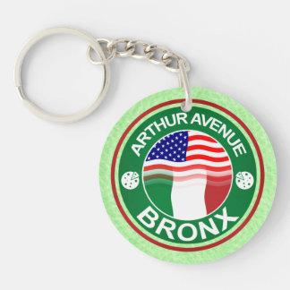 Arthur Ave Bronx Italian American Keyrings Double-Sided Round Acrylic Key Ring