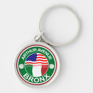 Arthur Ave Bronx Italian American Silver-Colored Round Key Ring