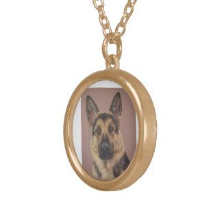 Arthur - German Shepherd. Gold Plated Necklace