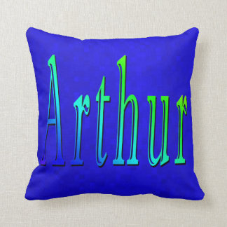Arthur Name Logo On Blue Mosaic, Cushion