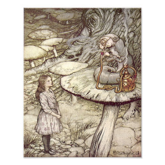 "Arthur Rackham  ""Alice and the Caterpillar"" Art Photo"