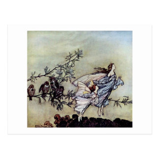 Arthur Rackham book art Peter Pan Fairies Postcard