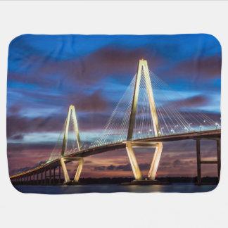 Arthur Ravenel Bridge At Night Pramblanket