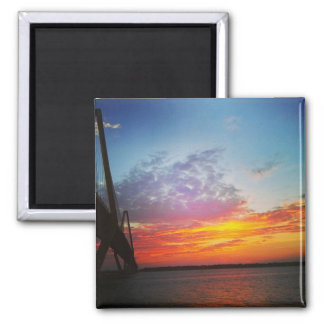 Arthur Ravenel Bridge in Sunset Square Magnet