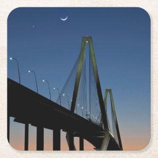 Arthur Ravenel Jr. Bridge at Dusk Square Paper Coaster