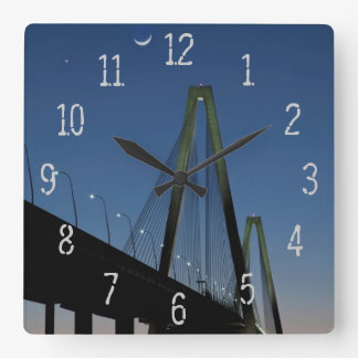 Arthur Ravenel Jr. Bridge at Dusk Square Wall Clock