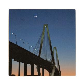 Arthur Ravenel Jr. Bridge at Dusk Wood Coaster