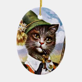 Arthur Thiele - Bavarian Alps Cat Ceramic Oval Decoration