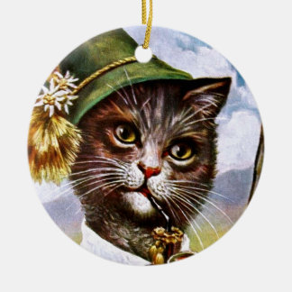 Arthur Thiele - Bavarian Alps Cat Round Ceramic Decoration