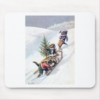 Arthur Thiele - Cats Bring home a Christmas Tree Mousepad