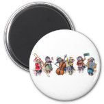 Arthur Thiele -  Cats Play Orchestra in the Snow. 6 Cm Round Magnet