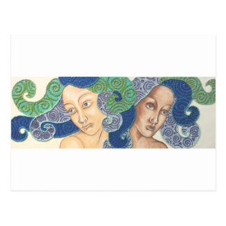 Artichicks art on a postcard (Medusa duo)
