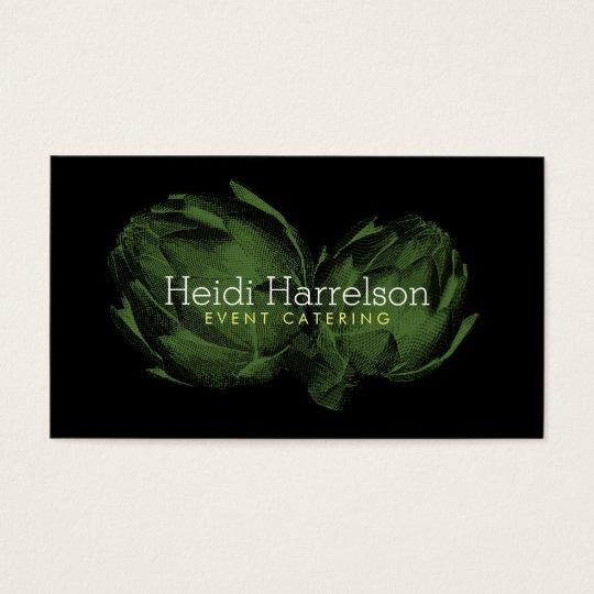 Artichoke Screen-Print Illustration Green/Black Business Card