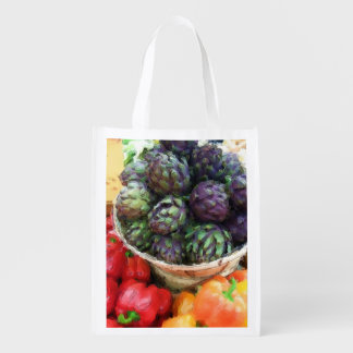 Artichokes Bell Peppers Farmers Market Grocery Reusable Grocery Bag