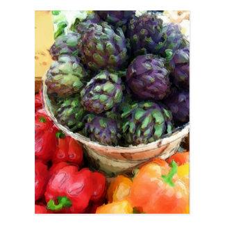 Artichokes Bell Peppers Vegan Vegetarian Postcard