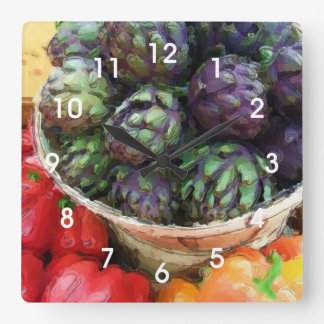 Artichokes Bell Peppers Vegetables Kitchen Square Wall Clock