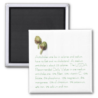 Artichokes with Nutritional Info Square Magnet