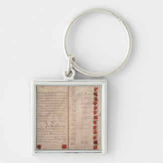 Articles of Union between England and Scotland Silver-Colored Square Key Ring