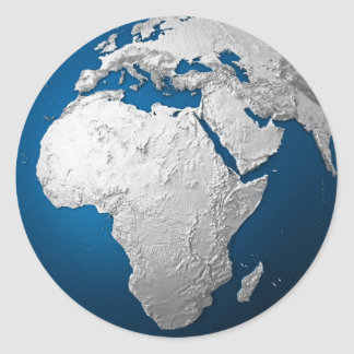 Artificial Earth - Africa. 3d Render Round Sticker