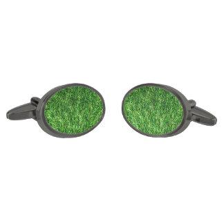 Artificial Grass Gunmetal Finish Cufflinks