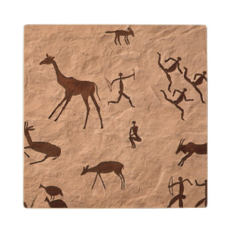 Artificial Rock Paintings On Synthetic Stone Wood Coaster