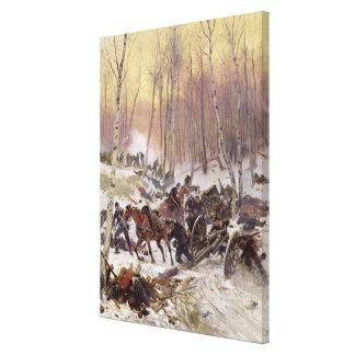 Artillery Combat in a Wood Canvas Print