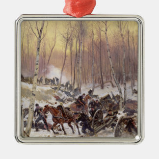Artillery Combat in a Wood Christmas Ornament