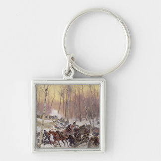 Artillery Combat in a Wood Key Ring