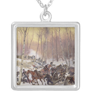 Artillery Combat in a Wood Silver Plated Necklace
