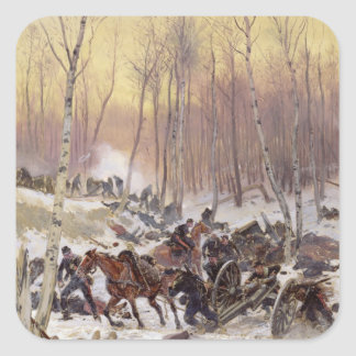 Artillery Combat in a Wood Square Sticker